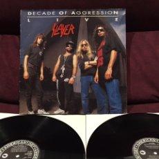 Discos de vinilo: SLAYER - DECADE OF AGGRESSION LIVE, LP DOBLE, 1991, REINO UNIDO & EUROPA, OPORTUNIDAD!!. Lote 191745073