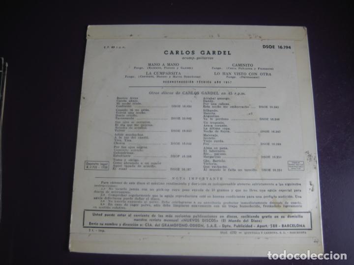 Discos de vinilo: CARLOS GARDEL EP ODEON 1958 - MANO A MANO/ LA CUMPARSITA/ CAMINITO +1 TANGOS ARGENTINA TANGO - Foto 2 - 191745921