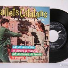 Discos de vinilo: DISCO EP DE VINILO - BALLETS CATALANS / COBLA BARCELONA, BALL DE NANS D'OLOT - ALHAMBRA - AÑO 1961. Lote 191801847