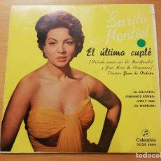 Discos de vinilo: SARITA MONTIEL. EL ÚLTIMO CUPLÉ (EL RELICARIO / FUMANDO ESPERO / VEN Y VEN / LA MADELON). Lote 191847731