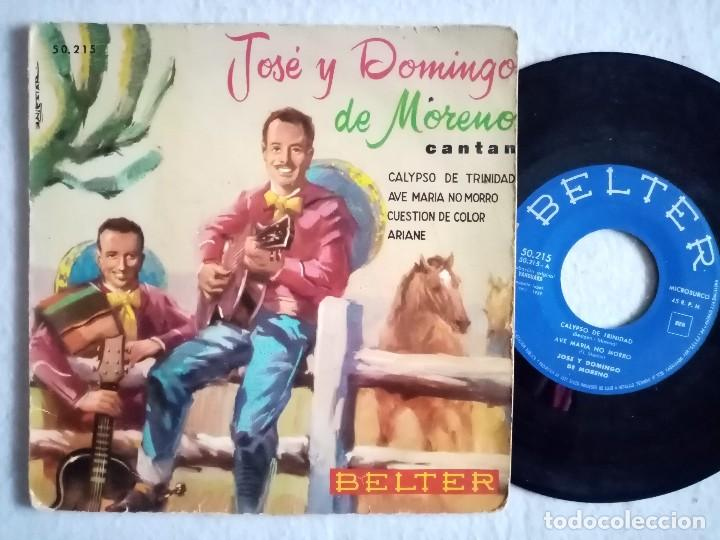 JOSE Y DOMINGO DE MORENO - CALYPSO DE TRINIDAD / AVE MARIA NO MORRO / CUESTION...EP 1959 - BELTER (Música - Discos de Vinilo - EPs - Grupos y Solistas de latinoamérica)