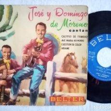 Discos de vinilo: JOSE Y DOMINGO DE MORENO - CALYPSO DE TRINIDAD / AVE MARIA NO MORRO / CUESTION...EP 1959 - BELTER. Lote 191896316
