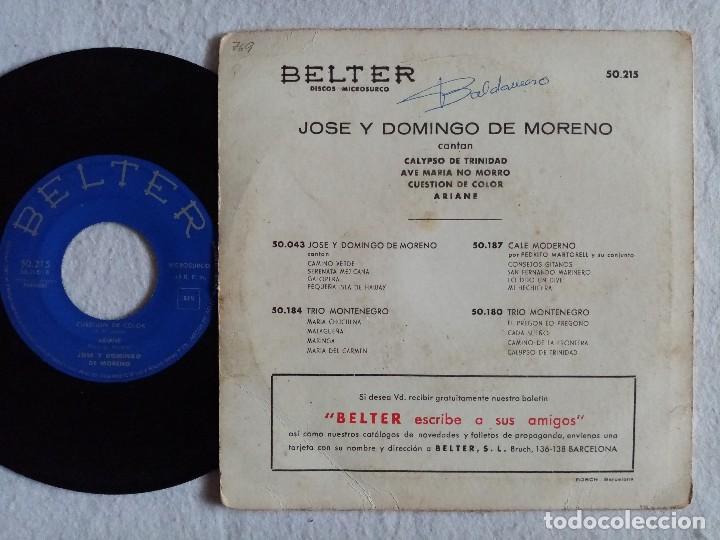 Discos de vinilo: Jose y Domingo De Moreno - Calypso De Trinidad / Ave Maria No Morro / Cuestion...EP 1959 - BELTER - Foto 2 - 191896316