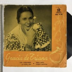 Discos de vinilo: GRACIA DE TRIANA. ACOMP. ORQUESTA. ODEON.. Lote 191953137