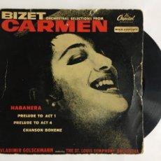 Discos de vinilo: BIZET CARMEN. ORCHESTRAL SELECTIONS FROM. CAPITOL CLASSICS.. Lote 191953351
