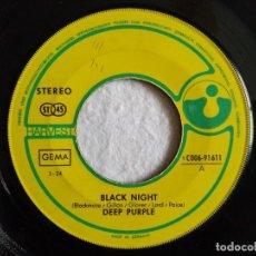 Discos de vinilo: DEEP PURPLE - BLACK NIGHT / LIVING WRECK - SINGLE ALEMAN - HARVEST. Lote 191973495