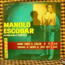 Discos de vinilo: MANOLO ESCOBAR - CUANDO MANDA EL CORAZON, YA TE DIJE, FANDANGO DE AMORES, VAYA USTÉ A SABÉ, BELTER, . Lote 191979155