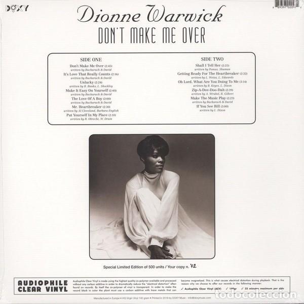 Discos de vinilo: Dionne Warwick LP AUDIOPHILE CLEAR VINYL * Dont Make Me Over * Precintado! * 500 copias numeradas - Foto 6 - 251923675