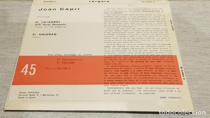 Discos de vinilo: JOAN CAPRI / EL CASAMENT-EL NAUFRAG / SG - VERGARA-1961 / CALIDAD LUJO.****/**** - Foto 3 - 192121265