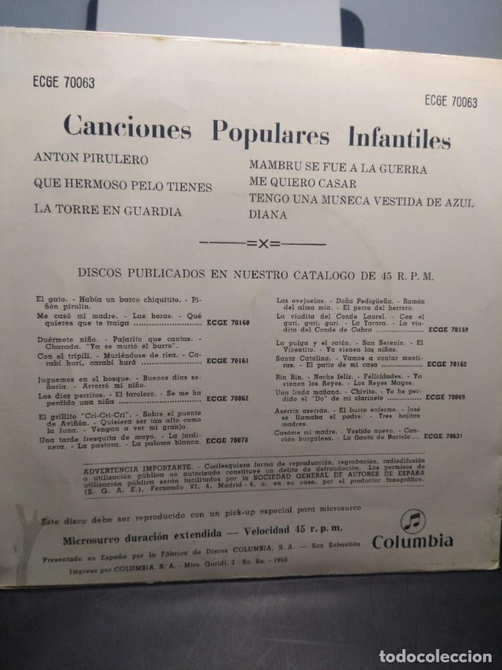 Discos de vinilo: EP CANCIONES POPULARES INFANTILES : ANTON PIRULETO, TENGO UNA MUÑECA VESTIDA DE AZUL, MAMBRU, ETC - Foto 2 - 192190602