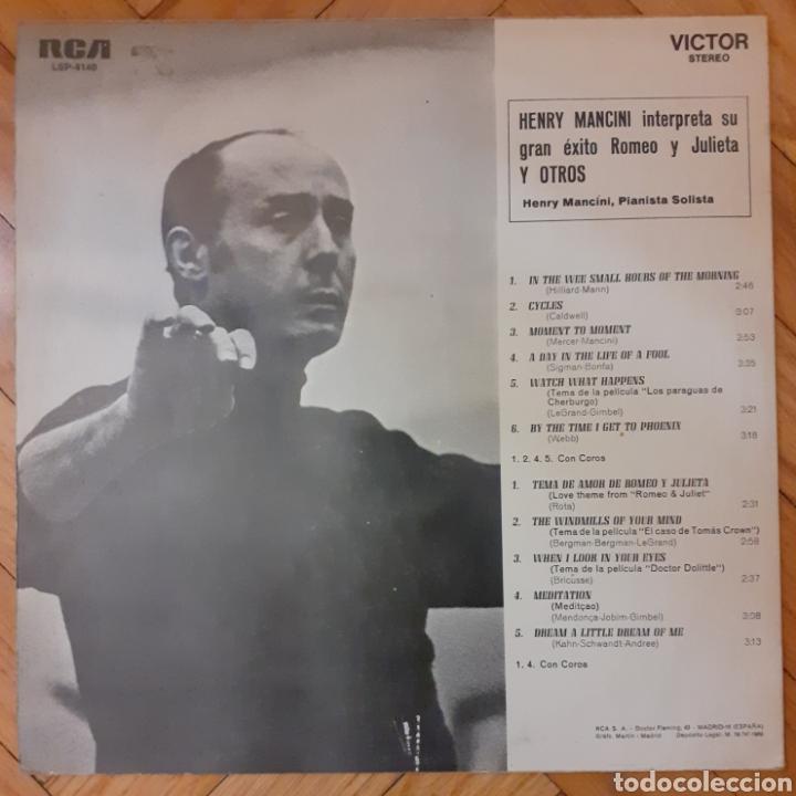 Discos de vinilo: LP Henry Mancini, Piano Solista Con Coros. Interpreta Su Gran Éxito Romeo Y Julieta Y Otros - Foto 2 - 192274341