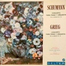 Discos de vinilo: SCHUMANN Y GRIEG. CONCIERTOS PARA PIANO Y ORQUESTA. BELTER 33.015. Lote 112724267