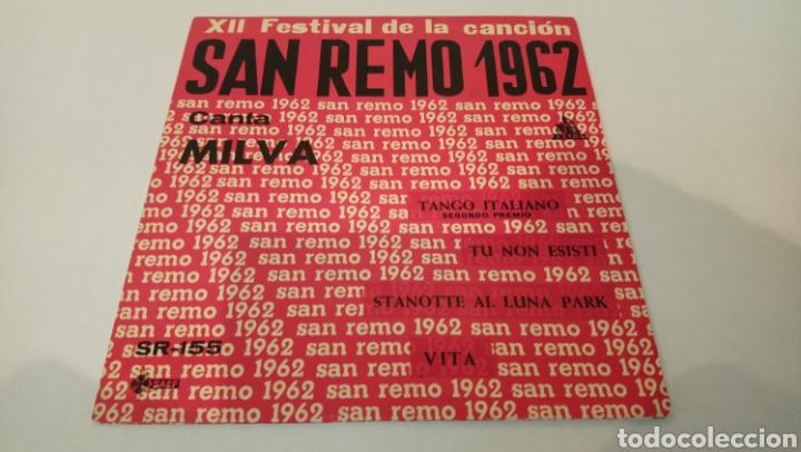 MILVA–XII FESTIVAL DE LA CANCION DE SAN REMO 1962 . EP. (Música - Discos de Vinilo - EPs - Otros Festivales de la Canción)