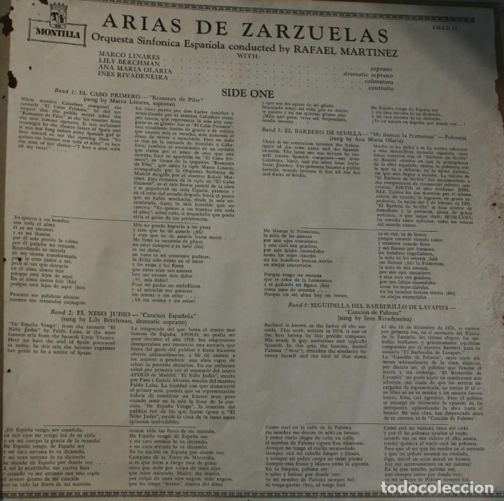 Discos de vinilo: DISCO ALBUM: ARIAS DE ZARZUELAS ORQUESTA SINFONICA ESPAÑOLA DIRECTOR RAFAEL MARTINEZ - MONTILLA - Foto 4 - 203723761
