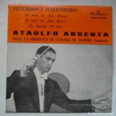Disques de vinyle: ATAULFO ARGENTA. PRELUDIOS E INTERMEDIOS. BODA LUIS ALFONSO. ALHAMBRA MGE 70018. Lote 192527387
