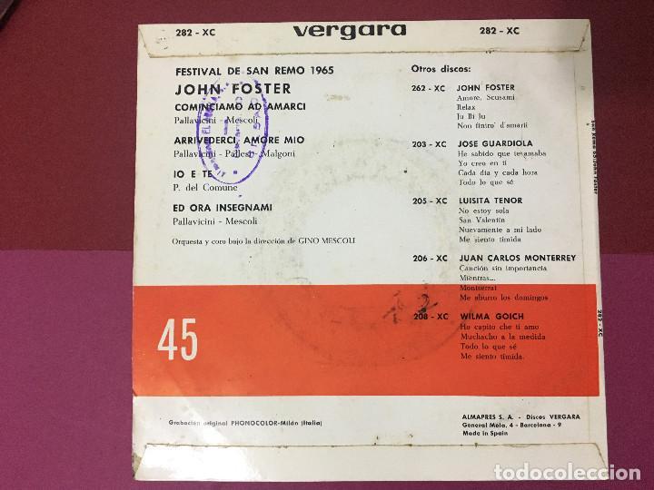 Discos de vinilo: SINGLE FESTIVAL DE SAN REMO, JOHN FOSTER 65, AMORE MIO, ARRIVEDERCI, IO E TE, ED ORA INSEGNAMI - Foto 2 - 192607462