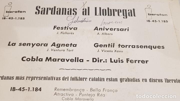 Discos de vinilo: COBLA MARAVELLA / SARDANAS AL LLOBREGAT / EP - IBEROFON-1962 / MBC. ***/*** - Foto 3 - 192635836