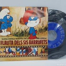 Discos de vinilo: LA FLAUTA DELS SIS BARRUFETS/LA FLAUTA DE LOS PITUFOS: ELS BARRUFETS NO SON IGUALS+BARRUFEM 1980. Lote 192649375