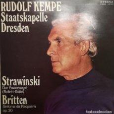 Discos de vinilo: STRAVINSKY Y BRITTEN,DIRIGE RUDOLF KEMPE.STAATSKAPELLE DRESDEN, VINILO DEL SELLO ETERNA. Lote 192670877