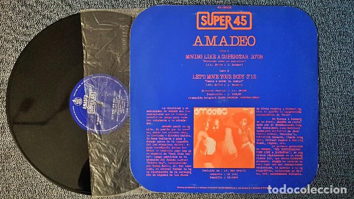 Discos de vinilo: Amadeo - Moving like a superstar/ Let´s move your body - MAXI SINGLE. año. 1.977. Hispavox - Foto 2 - 192674710
