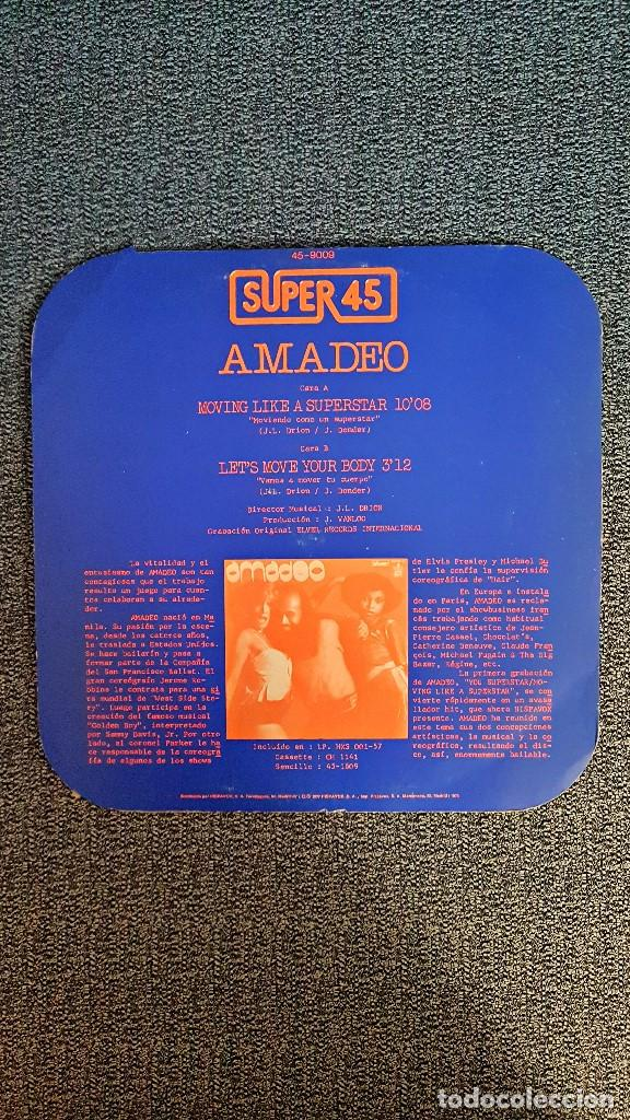 Discos de vinilo: Amadeo - Moving like a superstar/ Let´s move your body - MAXI SINGLE. año. 1.977. Hispavox - Foto 6 - 192674710