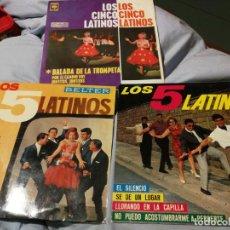 Discos de vinilo: 3 SINGLES LOS CINCO 5 LATINOS TE AMO Y TE AMARE, BALADA DE LA TROMPETA EL SILENCIO BELTER-CBS 1963-5. Lote 192767497