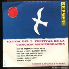 Discos de vinilo: CARLOS LAPORTA. EXITOS DE 7º FESTIVAL CANCIÓN MEDITERRANEA. BELTER 1965. EP. PERFECTO. Lote 192802355