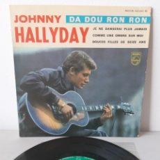 Discos de vinilo: EP JOHNNY HALLYDAY. DA DOU RON RON. + 3 TEMAS. 432.933 BE.. Lote 192860502