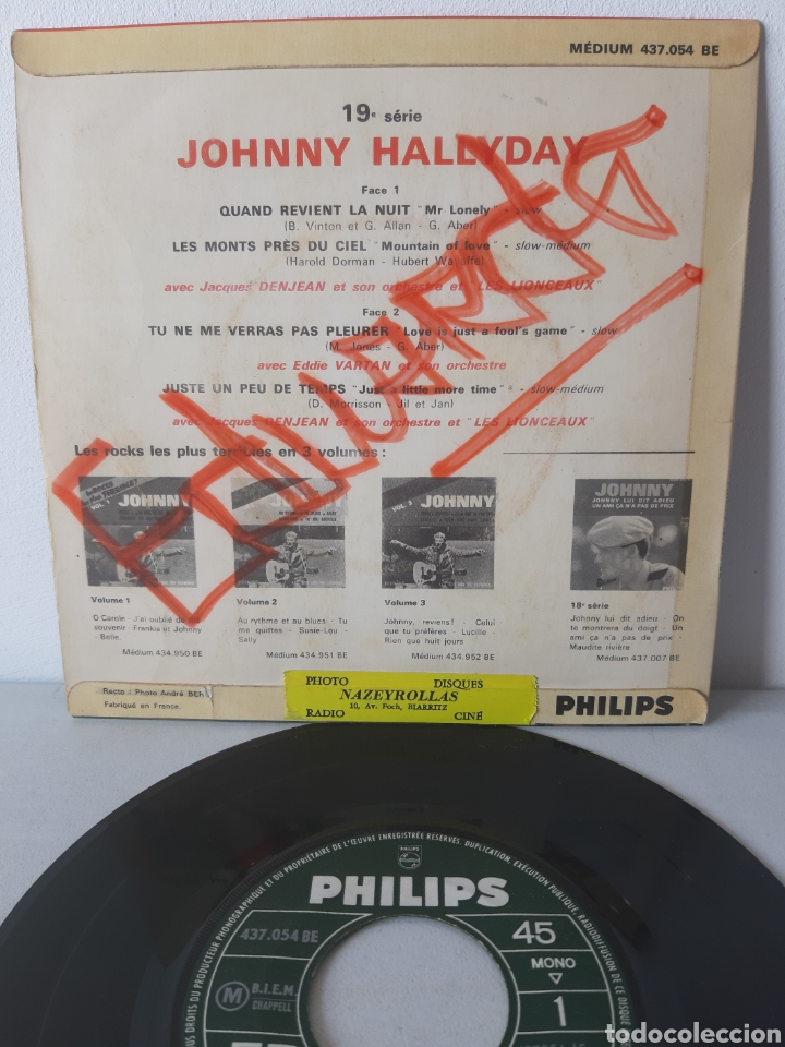 Discos de vinilo: EP JOHNNY HALLYDAY. QUAND REVIENT LA NUIT. + 3 TEMAS. PHILIPS. 437.054 BE. FRANCE. - Foto 2 - 192861613