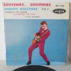 Discos de vinilo: EP JOHNNY HALLYDAY. SOUVENIRS, SOUVENIRS. + 3 TEMAS. LABEL VOGUE. EPL 7755. FRANCE.. Lote 192862060