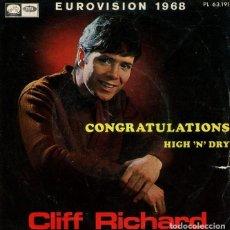Discos de vinilo: CLIFF RICHARD / CONGRATULATIONS / HIGH 'N' DRY (SINGLE 1968). Lote 192957905