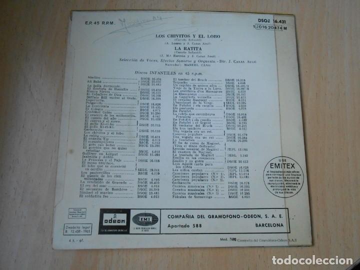 Discos de vinilo: CUENTOS (2) LOS CHIVITOS Y EL LOBO, EP, LA RATITA + 1, AÑO 1961 - Foto 2 - 193019111