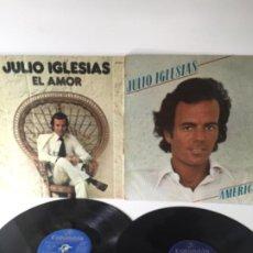 Discos de vinilo: LOTE 2 VINILOS JULIO IGLESIAS - EL AMOR + AMERICA -. Lote 193041995