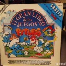 Discos de vinilo: EL GRAN LIBRO DE LOS JUEGOS: LOS PITUFOS - LIBRO Y DISCOS CARNABY 1981 CON JUEGOS. Lote 193065707