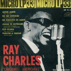 Disques de vinyle: RAY CHARLES (MICRO LP 33 RPM) / ADIOS AMOR / NO ME CONOCES + 4 ( EP 1960) . Lote 193074298
