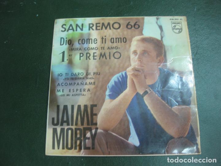 JAIME MOREY. SAN REMO 66. DIO COME TI AMO. 1º PREMIO. EP. 463 393 PE. PHILIPS. (Música - Discos de Vinilo - EPs - Otros Festivales de la Canción)
