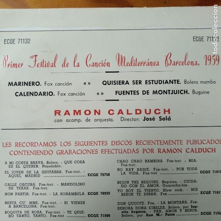 Discos de vinilo: PRIMER FESTIVAL DE LA CANCION MEDITERRANEA BARCELONA 1959- RAMON CALDUCH EP MARINERO/ +3... - Foto 2 - 193209402