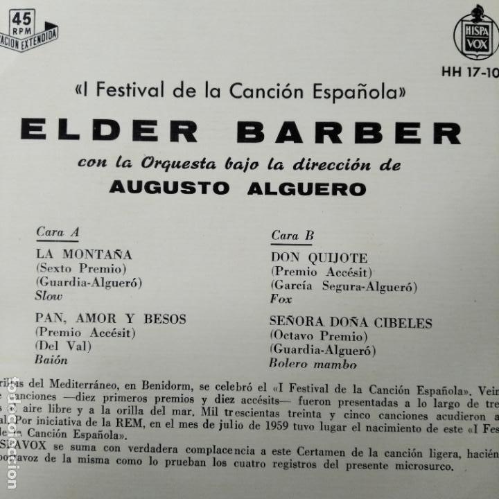 Discos de vinilo: I FESTIVAL DE LA CANCION ESPAÑOLA BENIDORM 1959- ELDER BARBER CON AUGUSTO ALGUERO EP - Foto 2 - 193209967