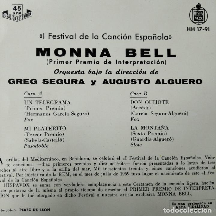 Discos de vinilo: I FESTIVAL DE LA CANCION ESPAÑOLA BENIDORM 1959- MONNA BELL CON AUGUSTO ALGUERO EP - Foto 2 - 193210078