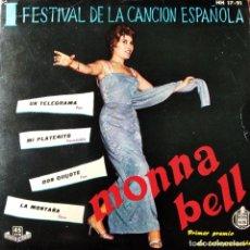 Discos de vinilo: I FESTIVAL DE LA CANCION ESPAÑOLA BENIDORM 1959- MONNA BELL CON AUGUSTO ALGUERO EP . Lote 193210078