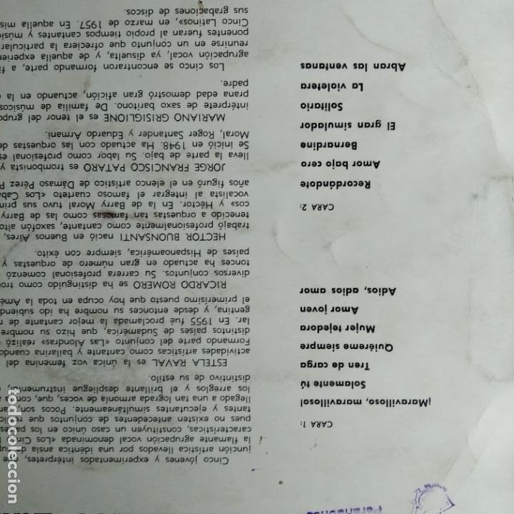 Discos de vinilo: LOS CINCO LATINOS - LP 1960 MARAVILLO MARAVILLOSO - Foto 2 - 193217727
