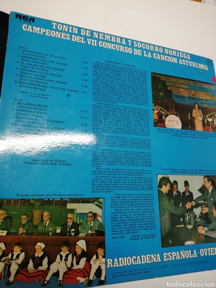 Discos de vinilo: Alborada Asturiana Tonin de Nembra y Socorro Noriega Radiocadena española-Oviedo VII concurso - Foto 3 - 193223740