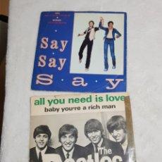 Discos de vinilo: THE BEATLES Y PAUL MCCARTNEY Y MICHAEL JACKSON 2 SINGLES 1967 Y 1983. Lote 193267017