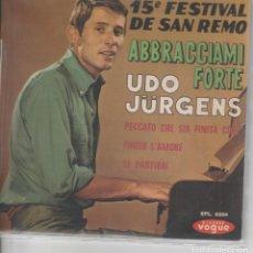 Discos de vinilo: 45 GIRI EP UDO JURGENS PECCATO CHE SIA FINITA COSI +3. Lote 193295757