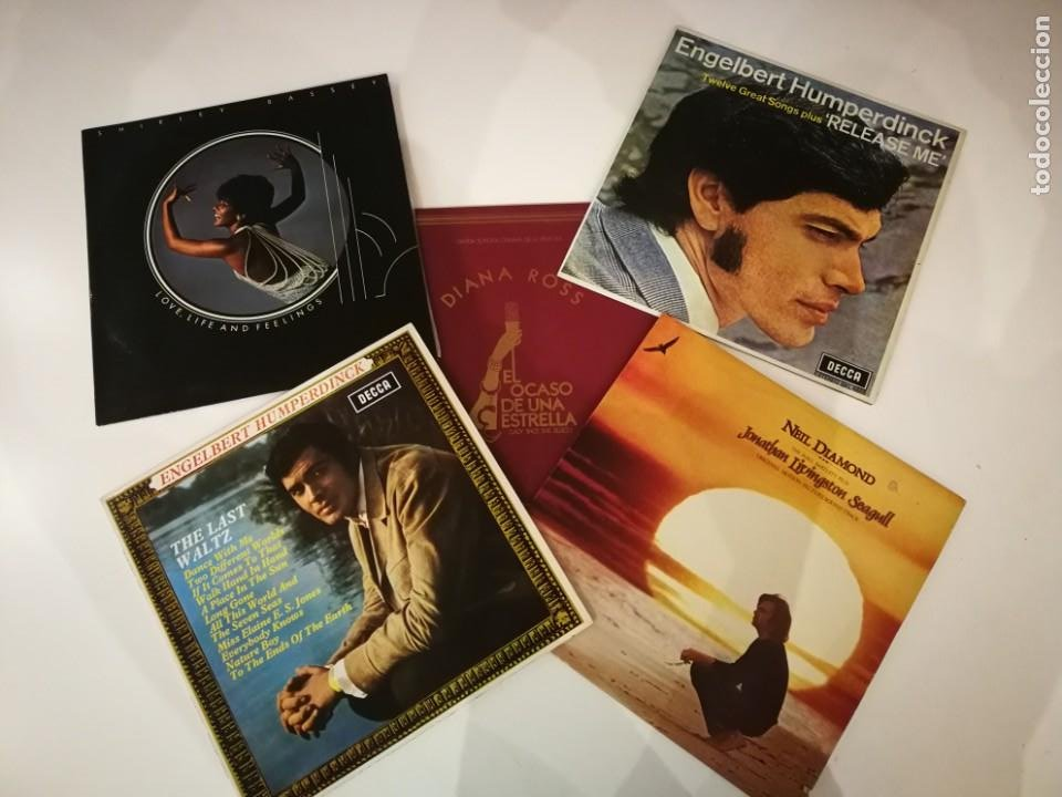 LOTE 5 DISCOS DE VINILO. DIANA ROSS. ENGELBERT HUMPERDINCK. SHIRLEY BASSEY. NEIL DIAMOND. (Música - Discos - LP Vinilo - Cantautores Extranjeros)