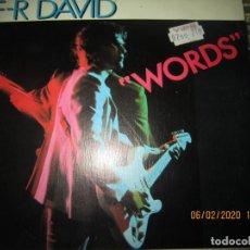Discos de vinilo: F-R DAVID - WORDS / WHEN THE SUN GOES DOWN SINGLE ORIGINAL ESPAÑOL - CARRERE 1982 - MUY NUEVO (5). Lote 193347778