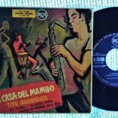 Discos de vinilo: TITO RODRIGUEZ - '' LA CASA DEL MAMBO - EL TUNEL + 3 '' EP 7'' SPAIN. Lote 193349427