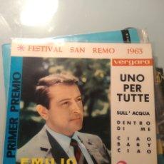 Discos de vinilo: EMILIO PERICOLI – UNO PER TUTTE / SULL'ACQUA / DENTRO DI ME / CIAO, BABY CIAO (SAN REMO 1963). Lote 193377643