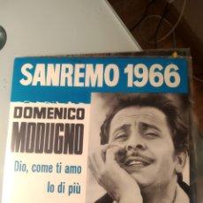 Discos de vinilo: DOMENICO MODUGNO – DIO, COME TI AMO / IO DI PIÙ. Lote 193377657