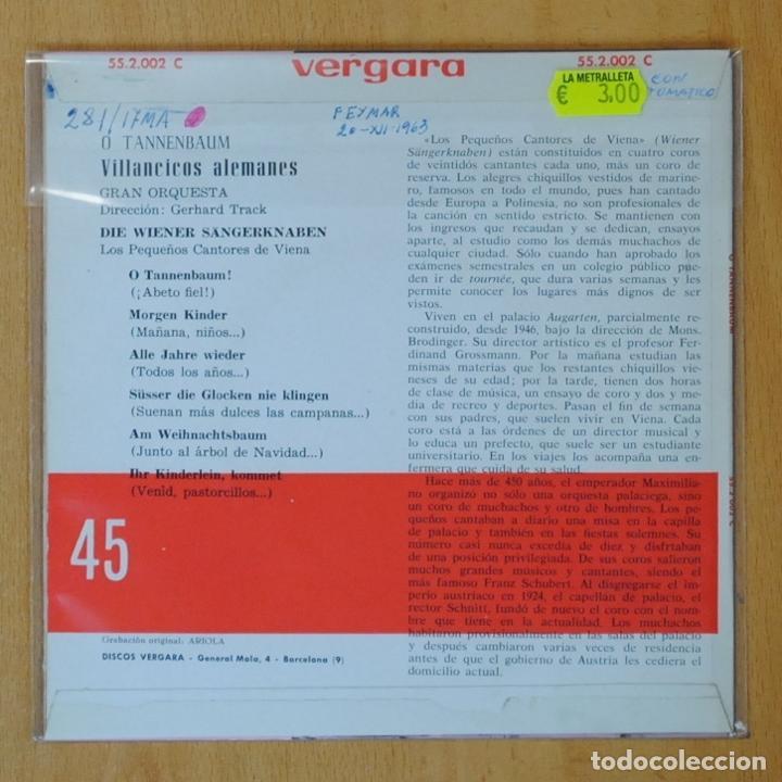 Discos de vinilo: LOS PEQUEÑOS CANTORES DE VIENA - VILLANCICOS ALEMANES - EP - Foto 2 - 193554613